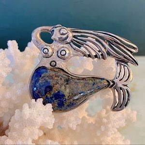 SIERRA Sterling & Azurite Mermaid Slider / Pendant